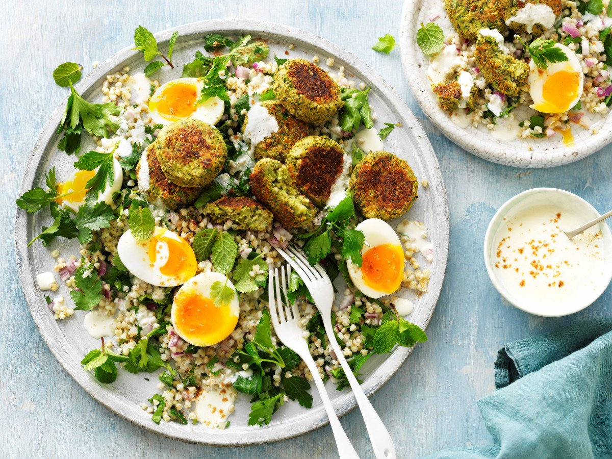 HEART HEALTHY BROCCOLI FALAFEL with BUCKWHEAT HERB SALAD  AUS EGGS PART THREE SEPT 2020 8687 midres