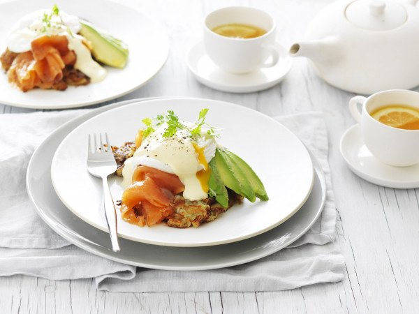 eggs and poached salmon, delicious and high in omega 3s
