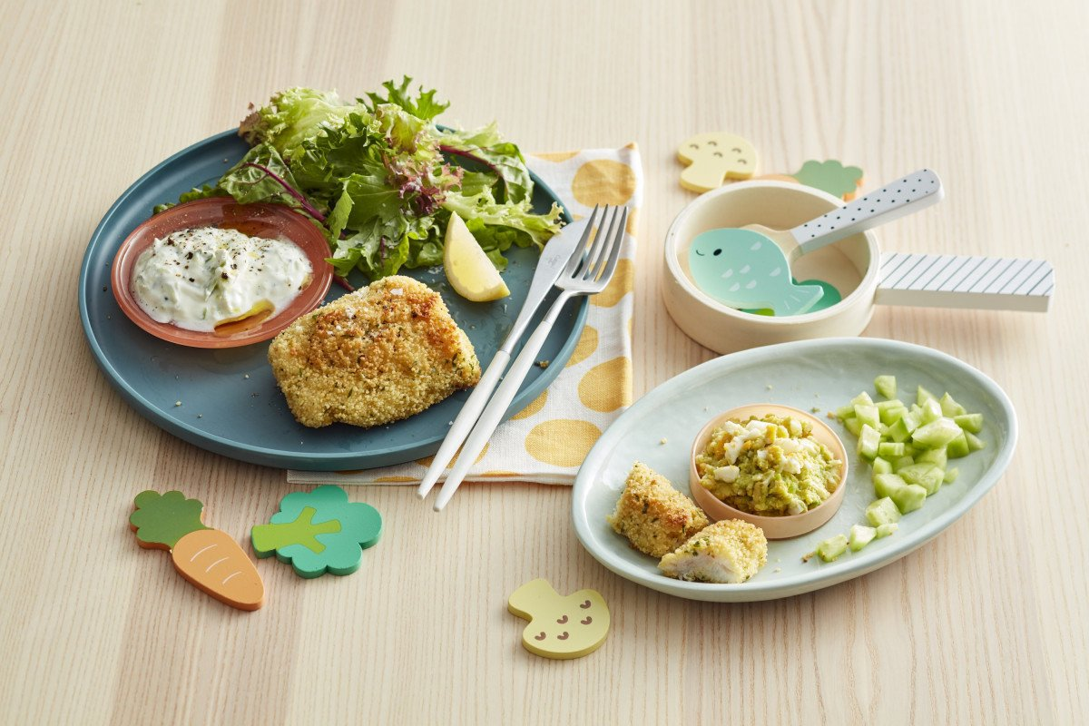 Crumbed Fish Dill Lemon Cucumber Yoghurt Baby Meal Breakout Whisk Eggs 240320 CrumbedFish 005 lores