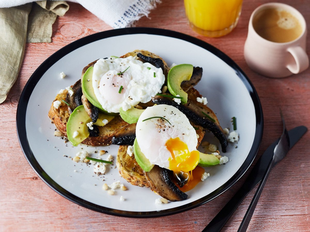 Poached eggs with field mushrooms and avocado web